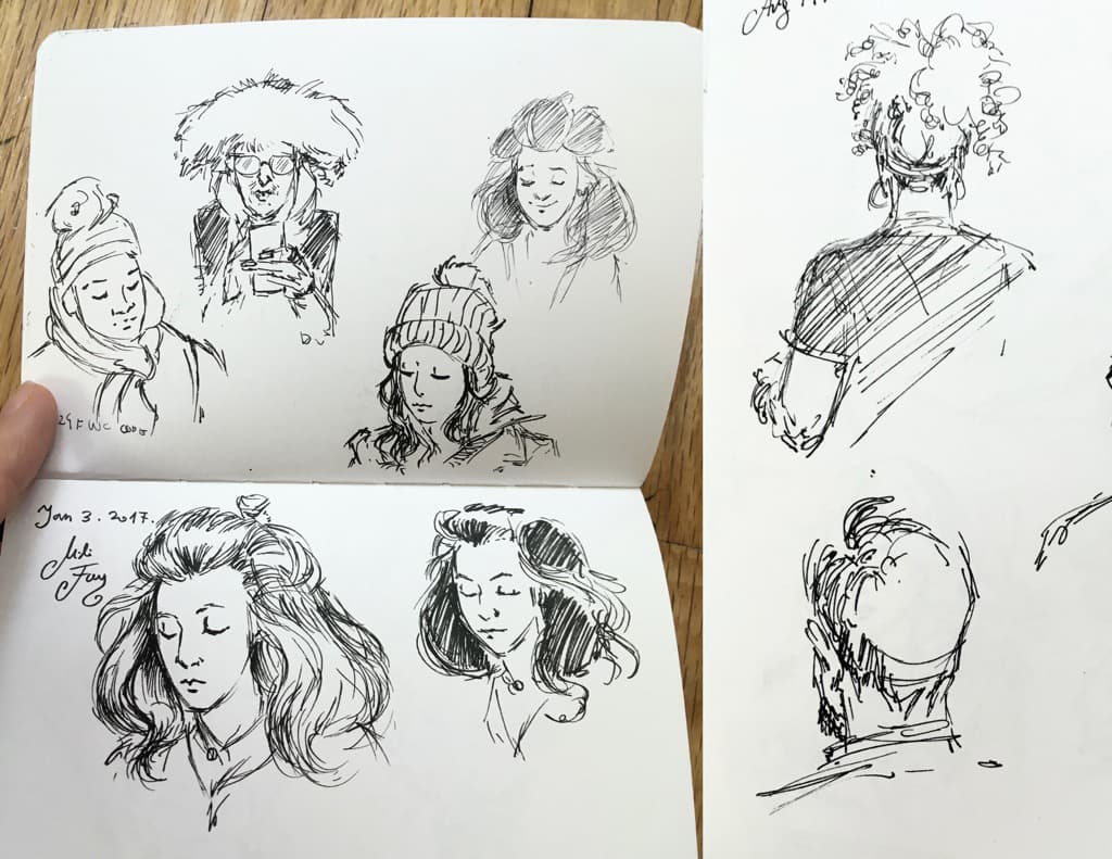 Mili Fay's 2 Sketches. One in the cafe, the other in the subway drawing heads.