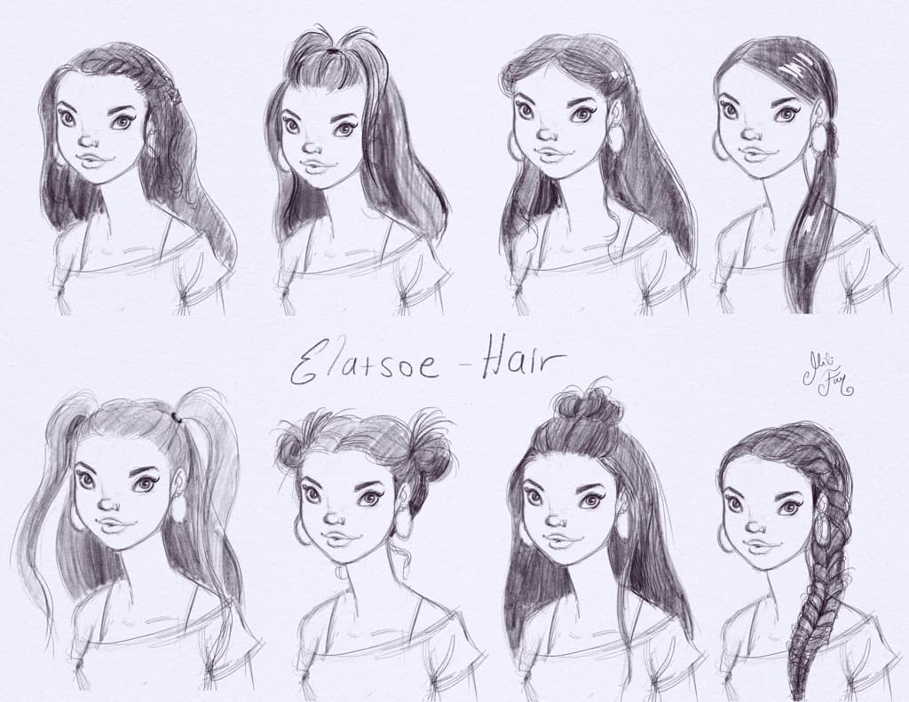 Mili Fay's drawings of Elatsoe with different hairstyles.