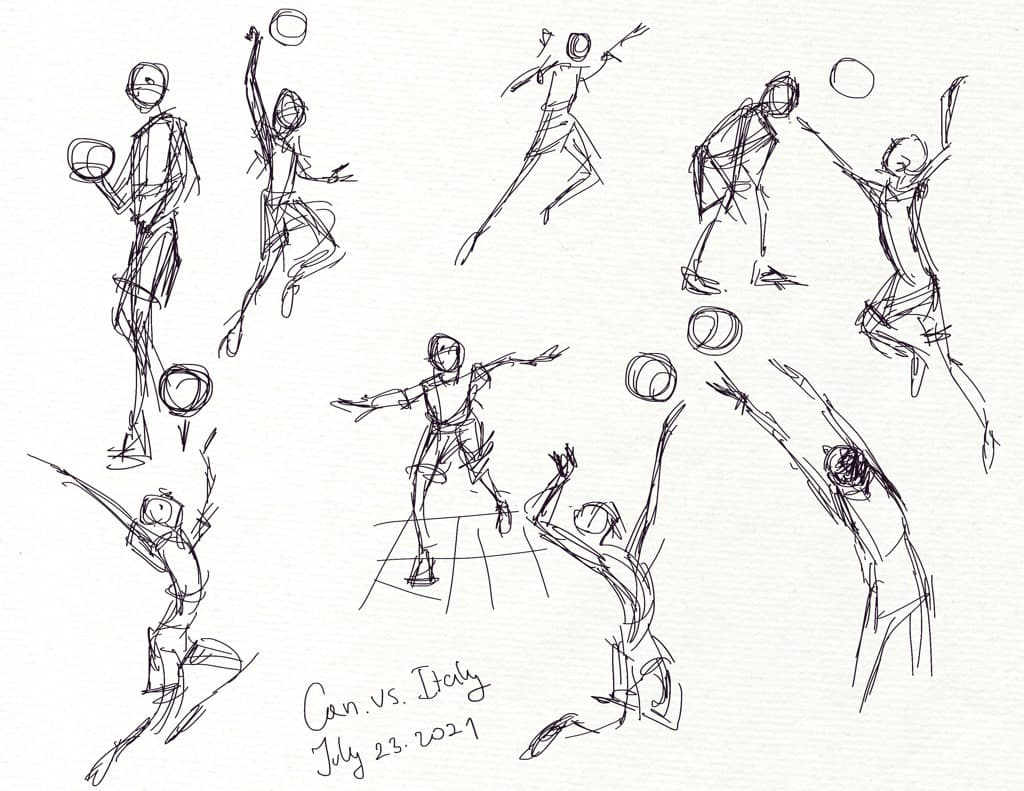Quick gesture sketches of the Canada vs. Italy volleyball game. Olympics 2021.