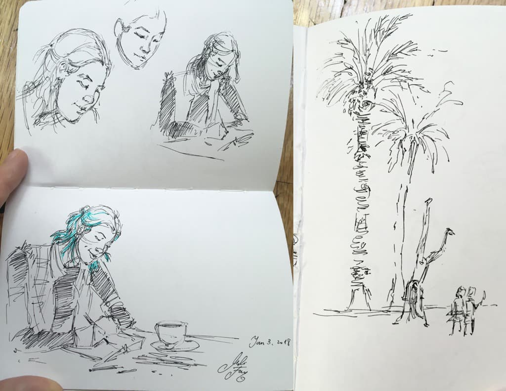 Mili Fay's Sketches, cafe sketches of a fellow artist and children playing in Miami, Florida.