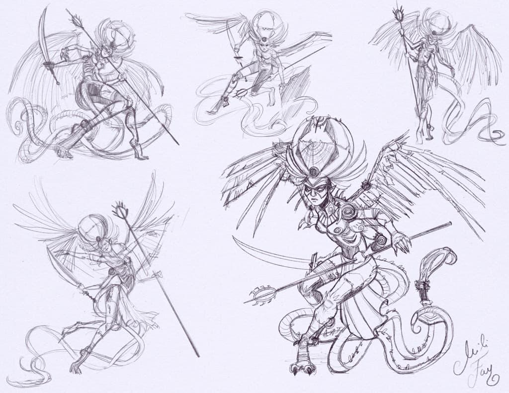 Mili Fay's sketches of Atraxa. Posing.