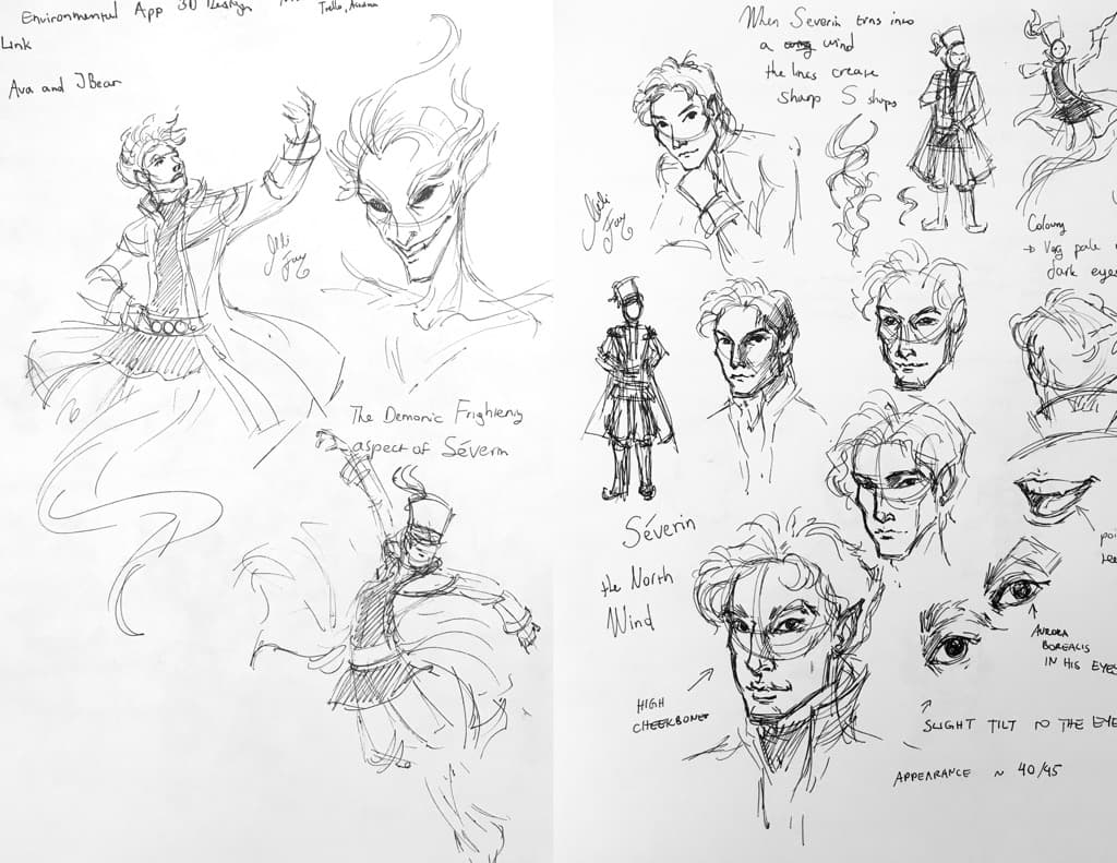 """Mili Fay's character development sketches of Séverin from """"Warriors of Virtue""""."""