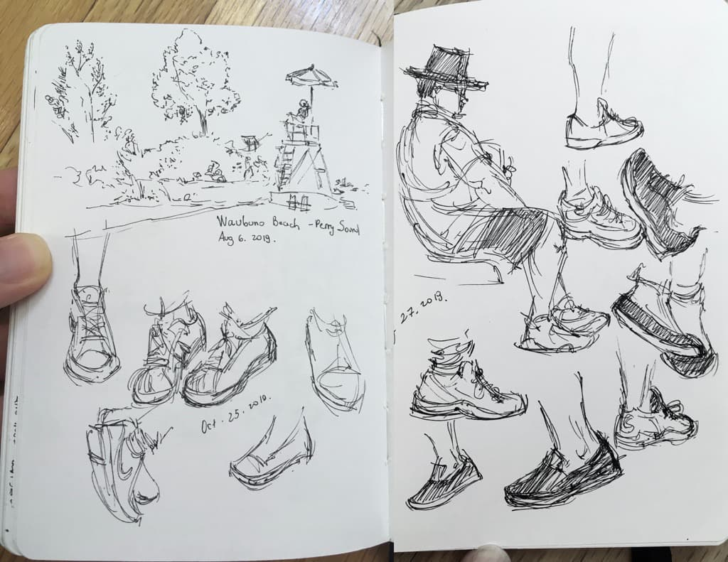 Mili Fay's observational sketches of shoes and the beach in Perry Sound, ON.