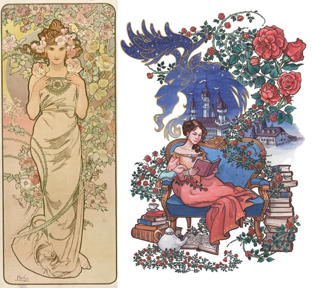 Mucha's Les Fleurs: Rose and Mili Fay's Beauty and the Beast comparison