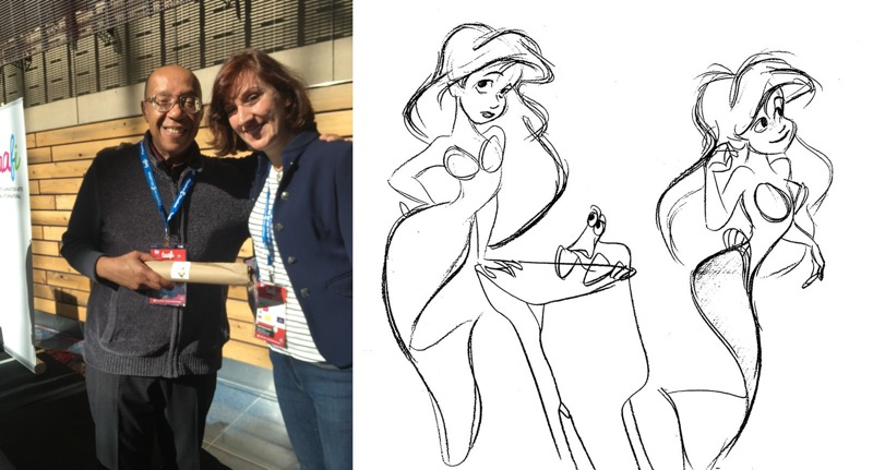 Dan Haskett and Mili Fay TAAFI 2018 with Dan Haskett's sketches of Disney's Ariel.