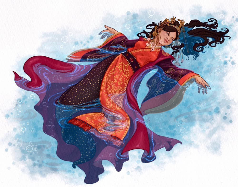 Beautiful moray eel mermaid, wearing Han Dynasty costume, serenely floating on water.