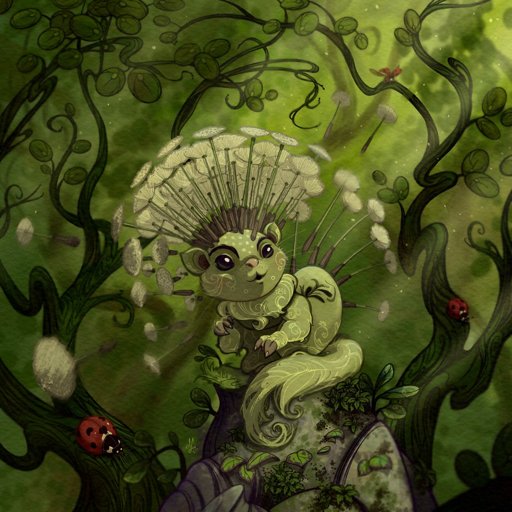 Green dandelion flying squirrel surrounded by ladybugs within a bush. Fantasy creature.