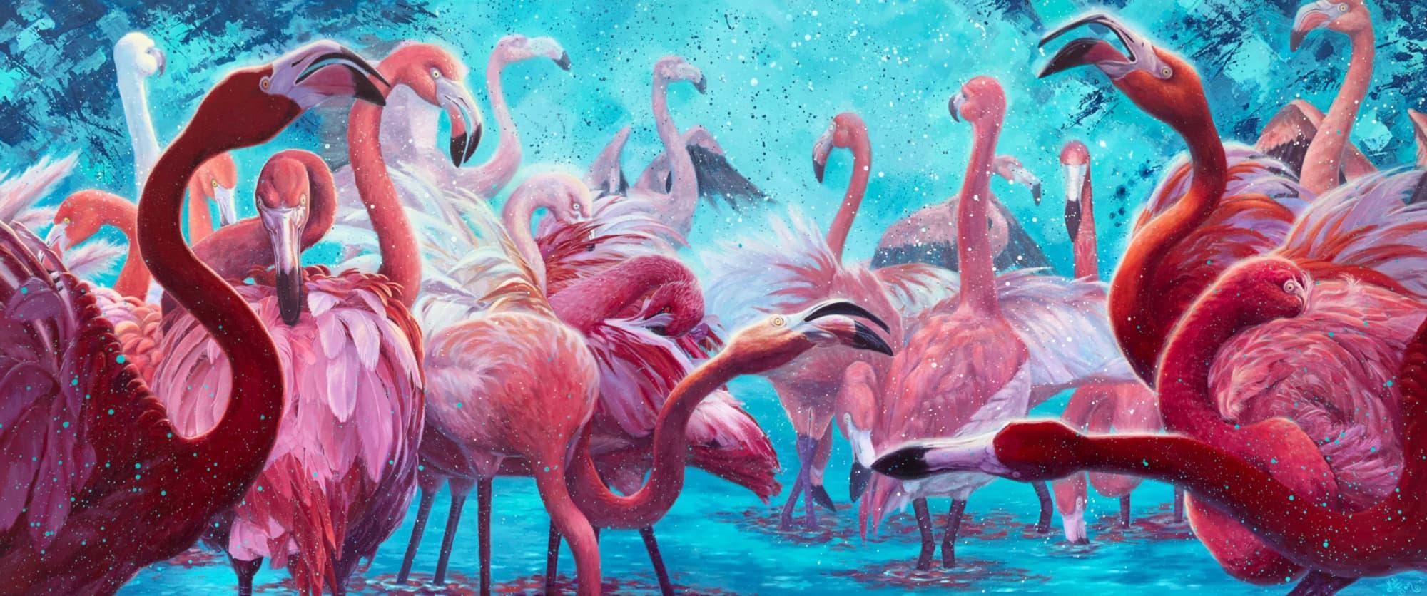"Mili Fay's ""Flamingo Party"" | 72"" x 30"" Acrylic on Canvas | SOLD."