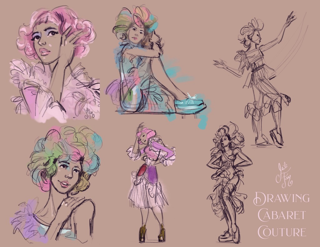Mili Fay Drawing Cabaret Couture: 3 to 10 minute observational drawings from life.