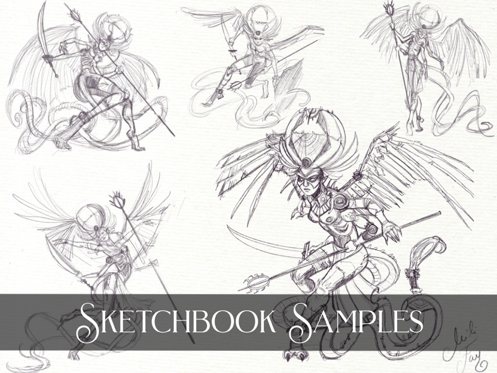 Sketchbook Samples featuring the pose sketches of the Horror Angel.