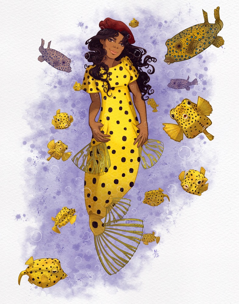 Mili Fay's Yellow Boxfish, 1960s Beatles Invasion, Chilled Mermaid from the MerMay2021 series, surrounded by juvenile and adult yellow boxfish.